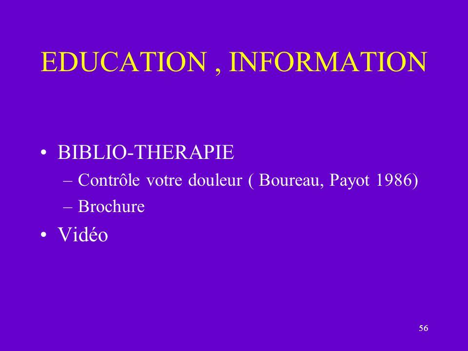 56 EDUCATION, INFORMATION BIBLIO-THERAPIE –Contrôle votre douleur ( Boureau, Payot 1986) –Brochure Vidéo