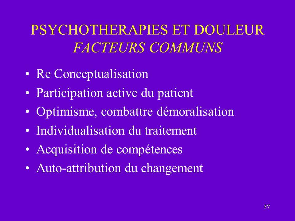 57 PSYCHOTHERAPIES ET DOULEUR FACTEURS COMMUNS Re Conceptualisation Participation active du patient Optimisme, combattre démoralisation Individualisat