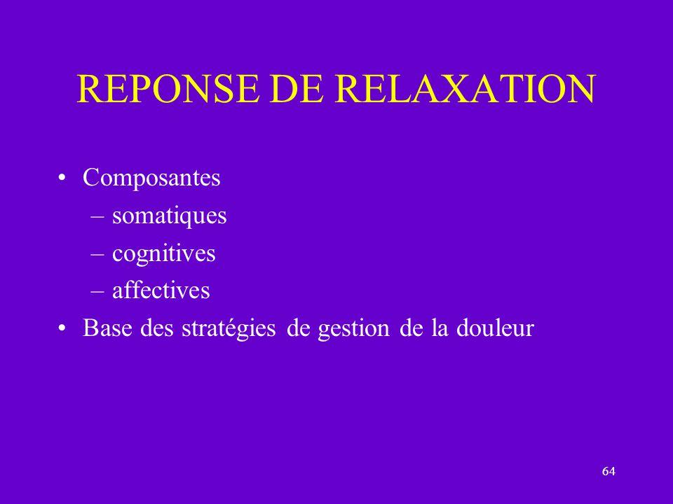 64 REPONSE DE RELAXATION Composantes –somatiques –cognitives –affectives Base des stratégies de gestion de la douleur