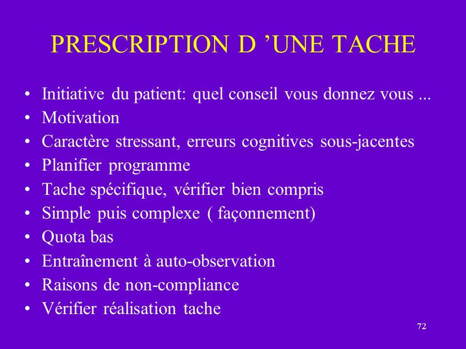 72 PRESCRIPTION D UNE TACHE Initiative du patient: quel conseil vous donnez vous... Motivation Caractère stressant, erreurs cognitives sous-jacentes P