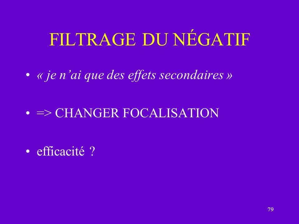 79 FILTRAGE DU NÉGATIF « je nai que des effets secondaires » => CHANGER FOCALISATION efficacité ?