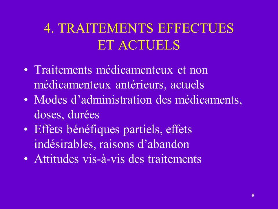 8 4. TRAITEMENTS EFFECTUES ET ACTUELS Traitements médicamenteux et non médicamenteux antérieurs, actuels Modes dadministration des médicaments, doses,