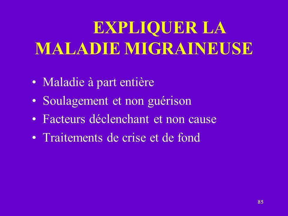 85 EXPLIQUER LA MALADIE MIGRAINEUSE Maladie à part entière Soulagement et non guérison Facteurs déclenchant et non cause Traitements de crise et de fo
