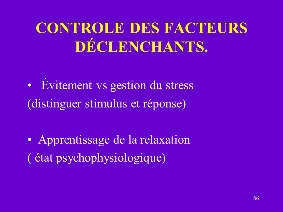 86 CONTROLE DES FACTEURS DÉCLENCHANTS. Évitement vs gestion du stress (distinguer stimulus et réponse) Apprentissage de la relaxation ( état psychophy