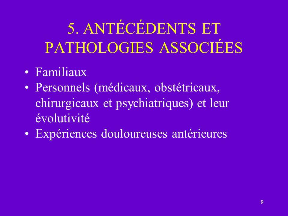 9 5. ANTÉCÉDENTS ET PATHOLOGIES ASSOCIÉES Familiaux Personnels (médicaux, obstétricaux, chirurgicaux et psychiatriques) et leur évolutivité Expérience