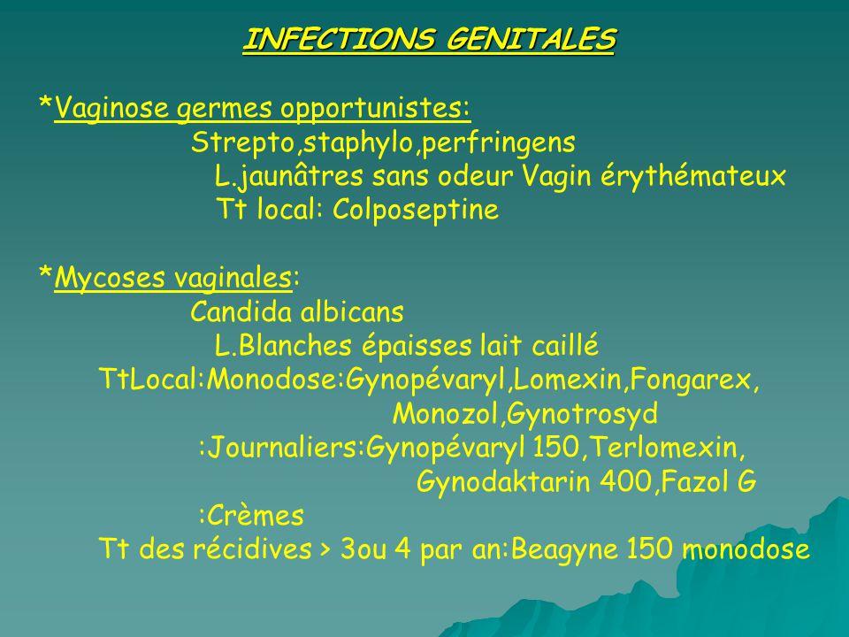 INFECTIONS GENITALES *Vaginose germes opportunistes: Strepto,staphylo,perfringens L.jaunâtres sans odeur Vagin érythémateux Tt local: Colposeptine *My
