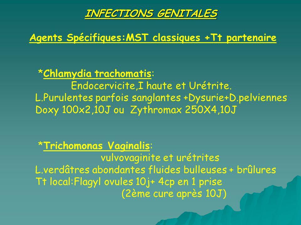 INFECTIONS GENITALES Agents Spécifiques:MST classiques +Tt partenaire *Chlamydia trachomatis: Endocervicite,I haute et Urétrite. L.Purulentes parfois