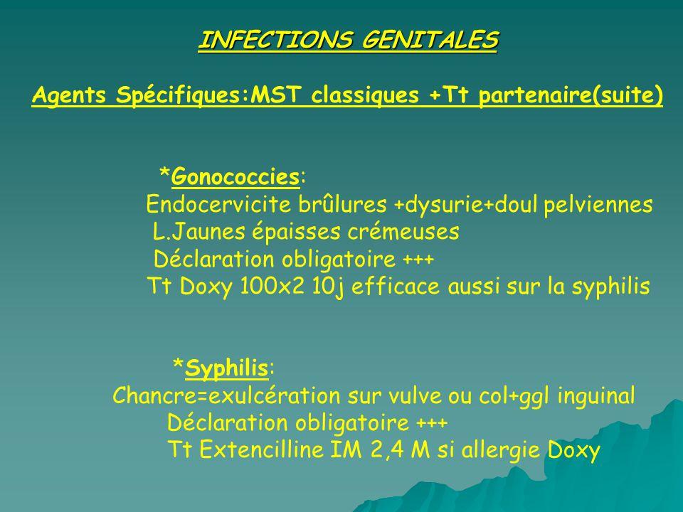 INFECTIONS GENITALES Agents Spécifiques:MST classiques +Tt partenaire(suite) *Gonococcies: Endocervicite brûlures +dysurie+doul pelviennes L.Jaunes ép