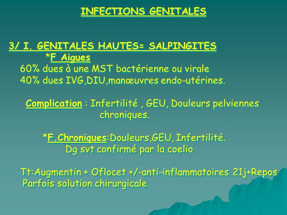 INFECTIONS GENITALES 3/ I. GENITALES HAUTES= SALPINGITES *F Aigues 60% dues à une MST bactérienne ou virale 40% dues IVG,DIU,manœuvres endo-utérines.