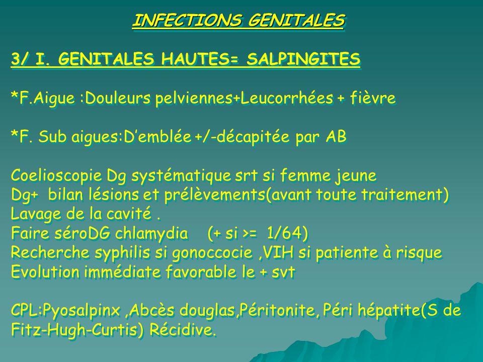 INFECTIONS GENITALES 3/ I. GENITALES HAUTES= SALPINGITES *F.Aigue :Douleurs pelviennes+Leucorrhées + fièvre *F. Sub aigues:Demblée +/-décapitée par AB