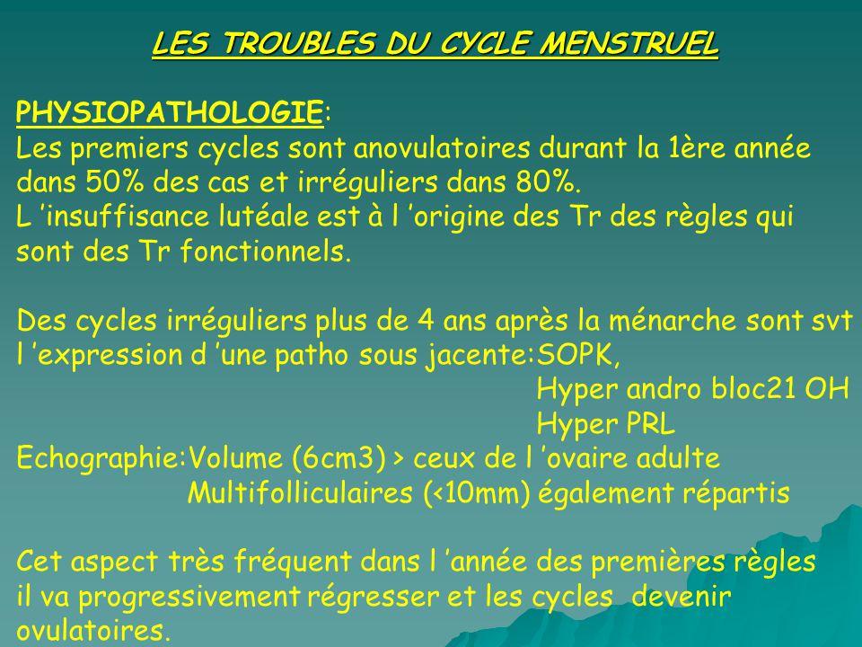 LES TROUBLES DU CYCLE MENSTRUEL PHYSIOPATHOLOGIE: Les premiers cycles sont anovulatoires durant la 1ère année dans 50% des cas et irréguliers dans 80%