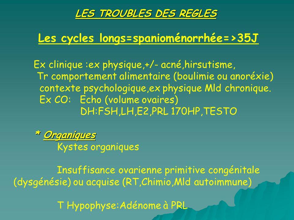 LES TROUBLES DES REGLES Les cycles longs=spanioménorrhée=>35J Ex clinique :ex physique,+/- acné,hirsutisme, Tr comportement alimentaire (boulimie ou a