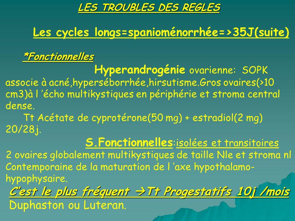 LES TROUBLES DES REGLES Les cycles longs=spanioménorrhée=>35J(suite) *Fonctionnelles Hyperandrogénie ovarienne: SOPK associe à acné,hyperséborrhée,hir