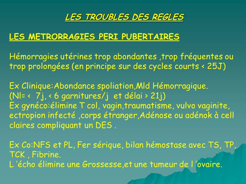 LES TROUBLES DES REGLES LES METRORRAGIES PERI PUBERTAIRES Hémorragies utérines trop abondantes,trop fréquentes ou trop prolongées (en principe sur des