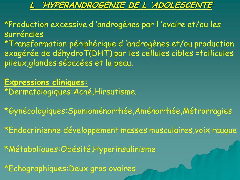 L HYPERANDROGENIE DE L ADOLESCENTE *Production excessive d androgènes par l ovaire et/ou les surrénales *Transformation périphérique d androgènes et/o