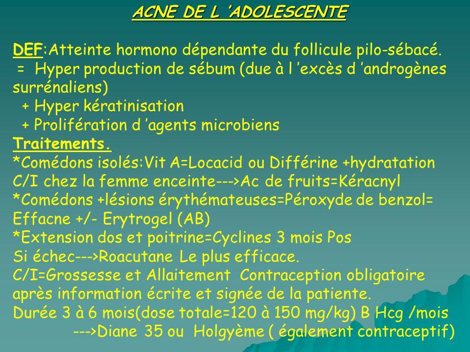 DEF:Atteinte hormono dépendante du follicule pilo-sébacé. = Hyper production de sébum (due à l excès d androgènes surrénaliens) + Hyper kératinisation