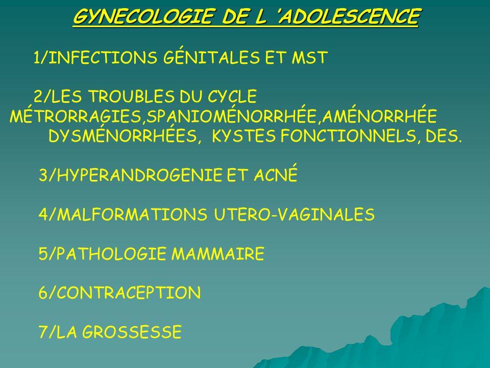 GYNECOLOGIE DE L ADOLESCENCE 1/INFECTIONS GÉNITALES ET MST 2/LES TROUBLES DU CYCLE MÉTRORRAGIES,SPANIOMÉNORRHÉE,AMÉNORRHÉE DYSMÉNORRHÉES, KYSTES FONCT