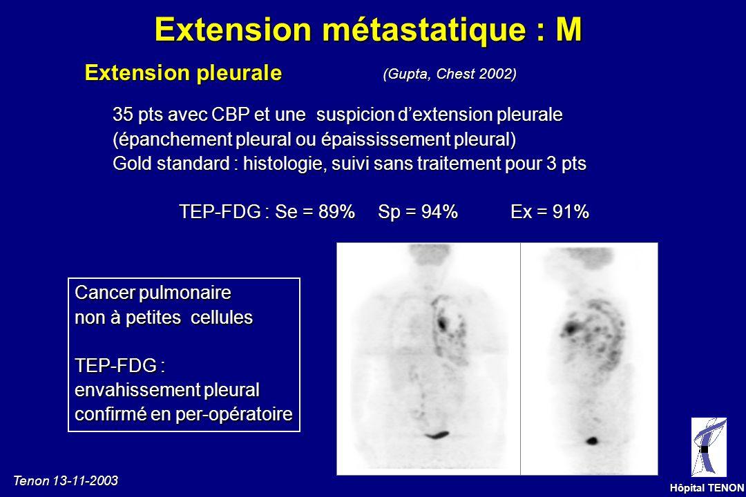 Tenon 13-11-2003 Hôpital TENON Carcinome épidermoïde du LID, Métastase pulmonaire controlatérale prouvée histologiquement Extension métastatique pulmo