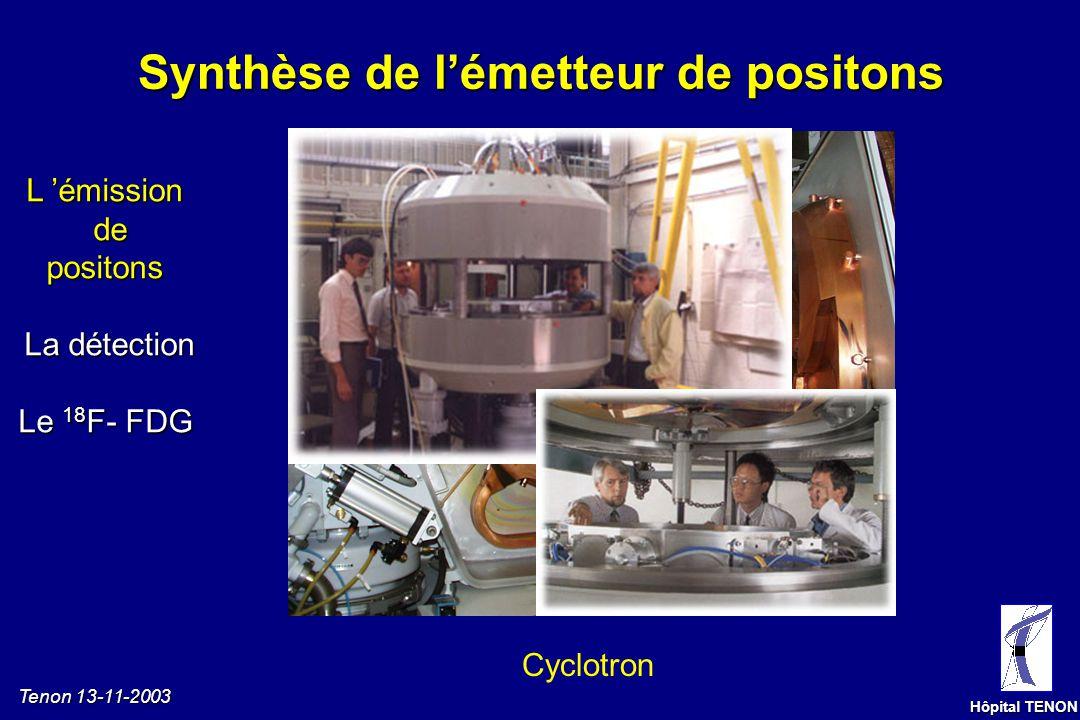 Tenon 13-11-2003 Hôpital TENON Emission de positons L émissiondepositons La détection Le 18 F- FDG Positon : particule bêta positive = + Emetteur de p