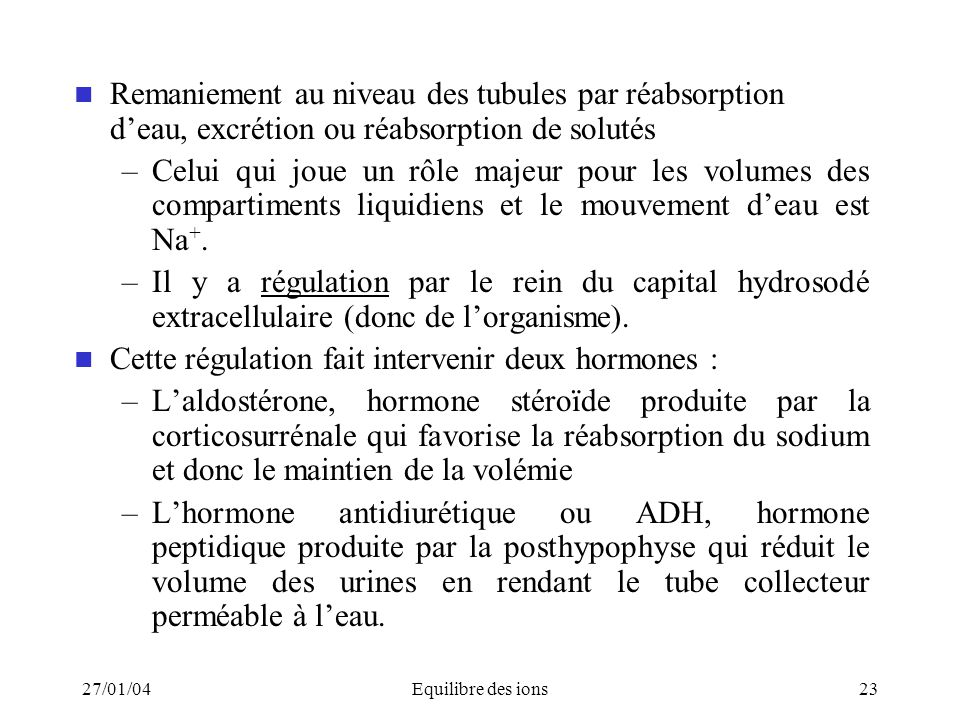 27/01/04Equilibre des ions23 Remaniement au niveau des tubules par réabsorption deau, excrétion ou réabsorption de solutés –Celui qui joue un rôle maj