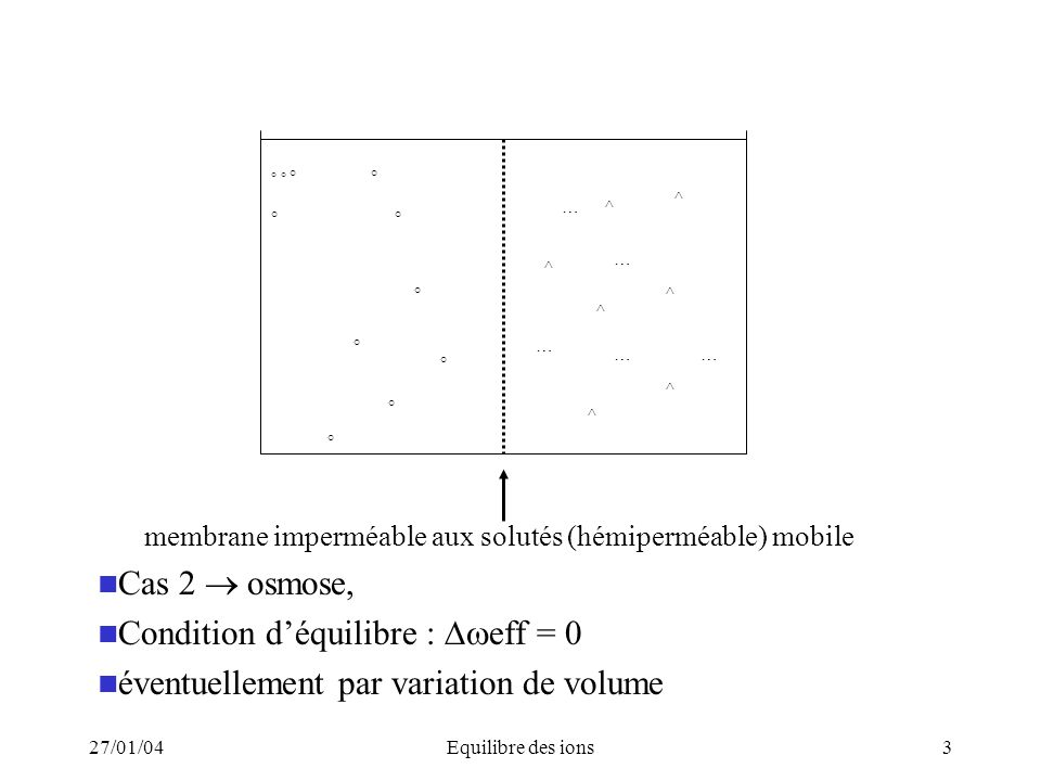 27/01/04Equilibre des ions14