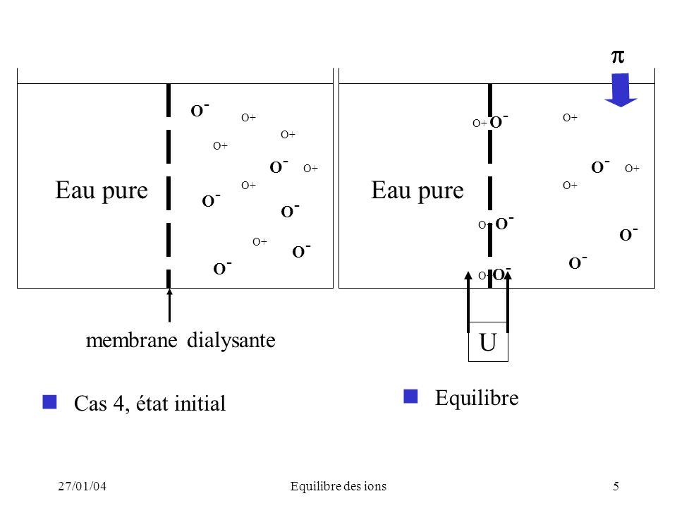 27/01/04Equilibre des ions5 Cas 4, état initial Eau pure O- O- membrane dialysante O- O- O- O- O- O- O- O- O- O- Eau pure O- O- U O-O- O- O- O- O- O-