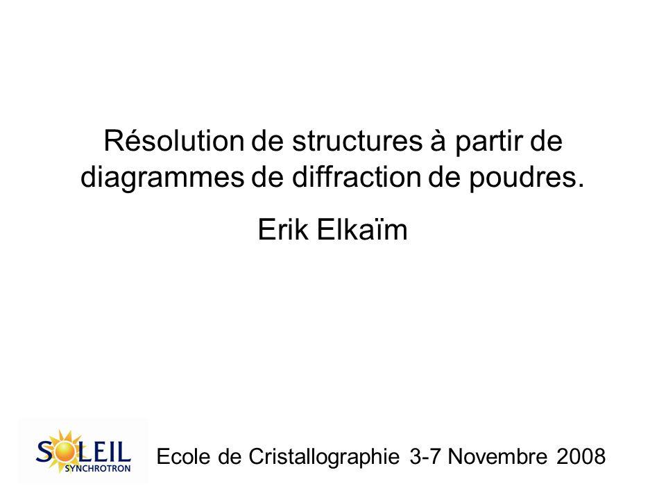 Résolution de structures à partir de diagrammes de diffraction de poudres. Erik Elkaïm Ecole de Cristallographie 3-7 Novembre 2008