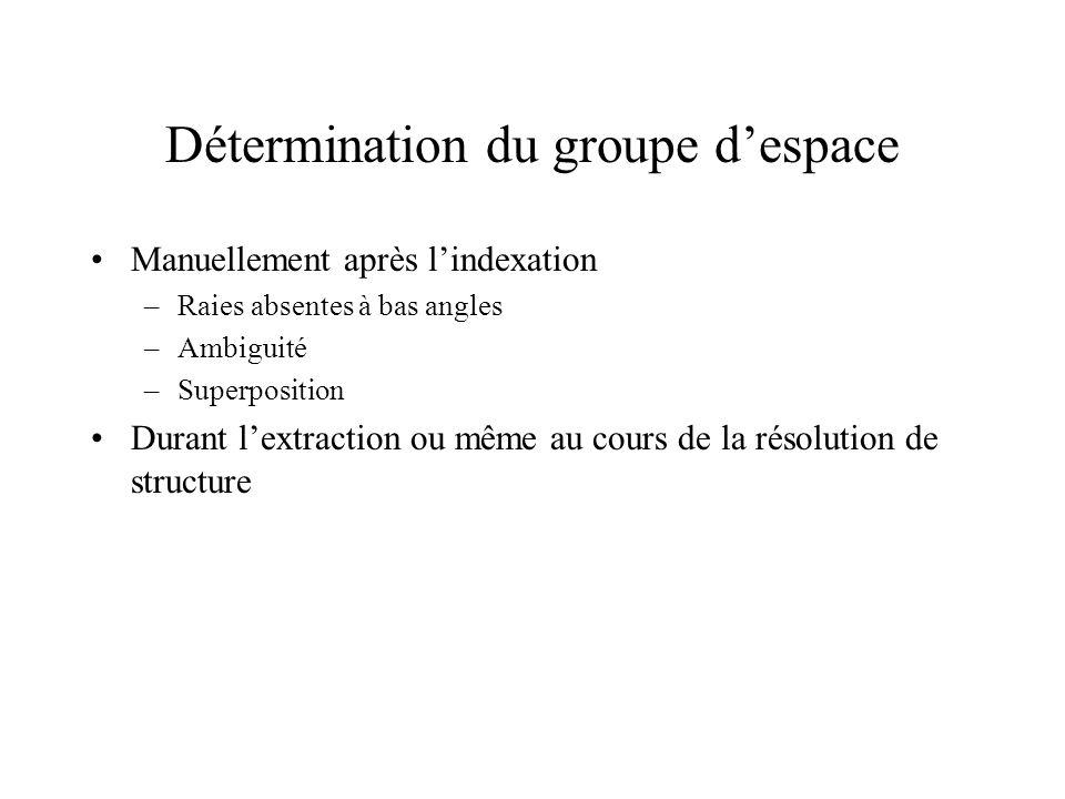 Détermination du groupe despace Manuellement après lindexation –Raies absentes à bas angles –Ambiguité –Superposition Durant lextraction ou même au co