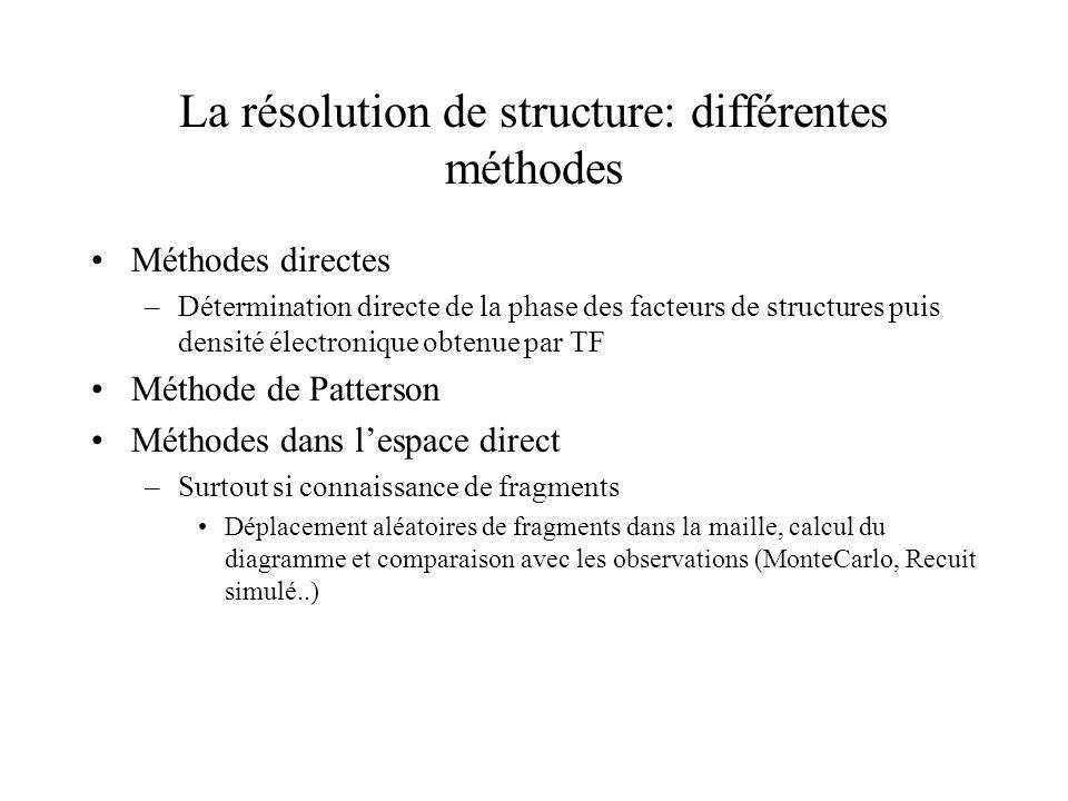 La résolution de structure: différentes méthodes Méthodes directes –Détermination directe de la phase des facteurs de structures puis densité électron