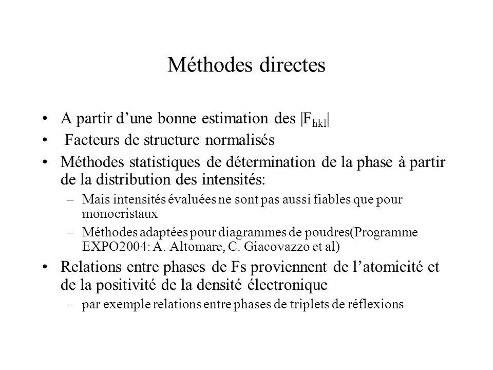 Méthode de Patterson P(u)= V ρ(r) ρ(r+u)du fonction dautocorrélation de la densité On montre que P(u)=(1/V)Σ h |F hkl | 2 e- 2πh.u Position des max de P(u) correspondent à vecteurs interatomiques Intensité des max ~ Z i *Z j Si atomes lourds, pics les plus forts permettent de placer ces atomes.