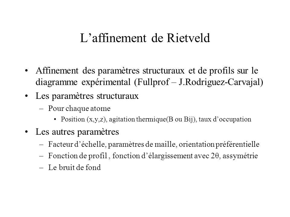 Laffinement de Rietveld Affinement des paramètres structuraux et de profils sur le diagramme expérimental (Fullprof – J.Rodriguez-Carvajal) Les paramè