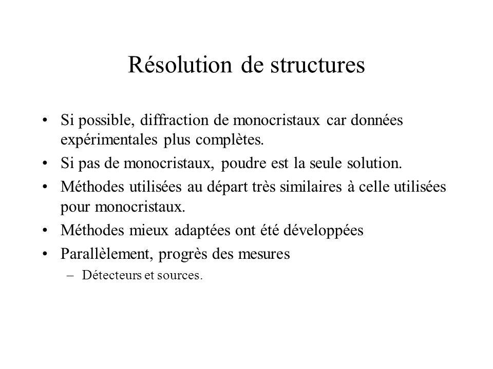 Résolution de structures Si possible, diffraction de monocristaux car données expérimentales plus complètes. Si pas de monocristaux, poudre est la seu