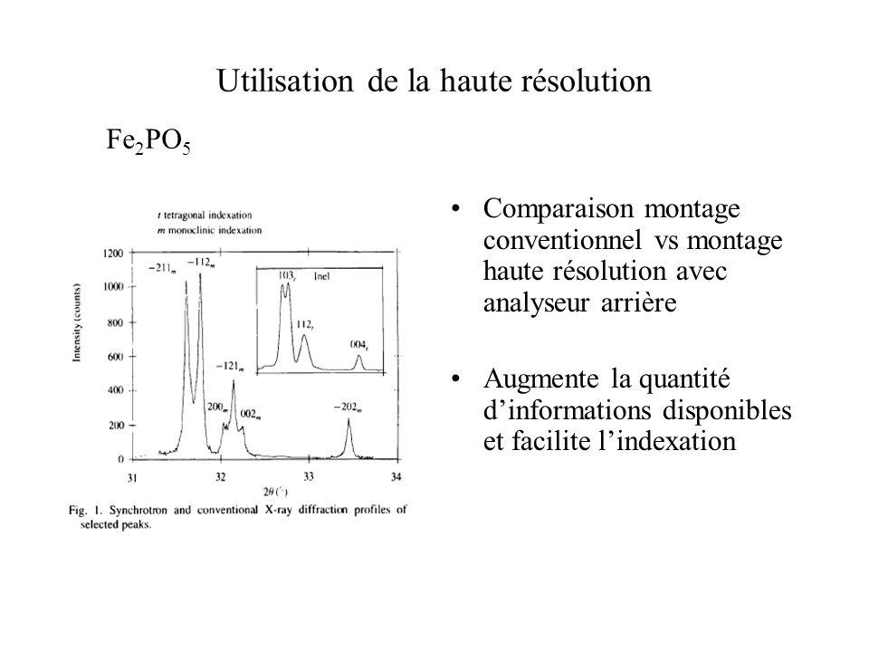 Utilisation de la haute résolution Comparaison montage conventionnel vs montage haute résolution avec analyseur arrière Augmente la quantité dinformat