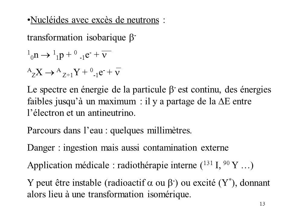 13 Nucléides avec excès de neutrons : transformation isobarique - 1 0 n 1 1 p + 0 -1 e - + A Z X A Z+1 Y + 0 -1 e - + Le spectre en énergie de la part