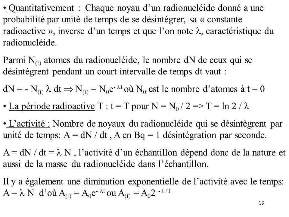 19 Quantitativement : Chaque noyau dun radionucléide donné a une probabilité par unité de temps de se désintégrer, sa « constante radioactive », inver