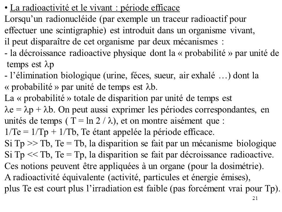 21 La radioactivité et le vivant : période efficace Lorsquun radionucléide (par exemple un traceur radioactif pour effectuer une scintigraphie) est in