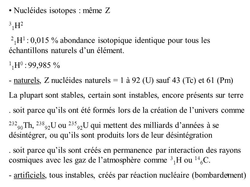 4 Nucléides isotopes : même Z 3 1 H 2 2 1 H 1 : 0,015 % abondance isotopique identique pour tous les échantillons naturels dun élément. 1 1 H 0 : 99,9
