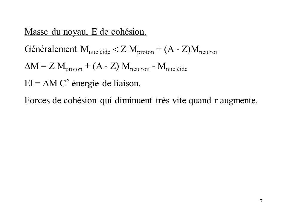 7 Masse du noyau, E de cohésion. Généralement M nucléide Z M proton + (A - Z)M neutron M = Z M proton + (A - Z) M neutron - M nucléide El = M C 2 éner
