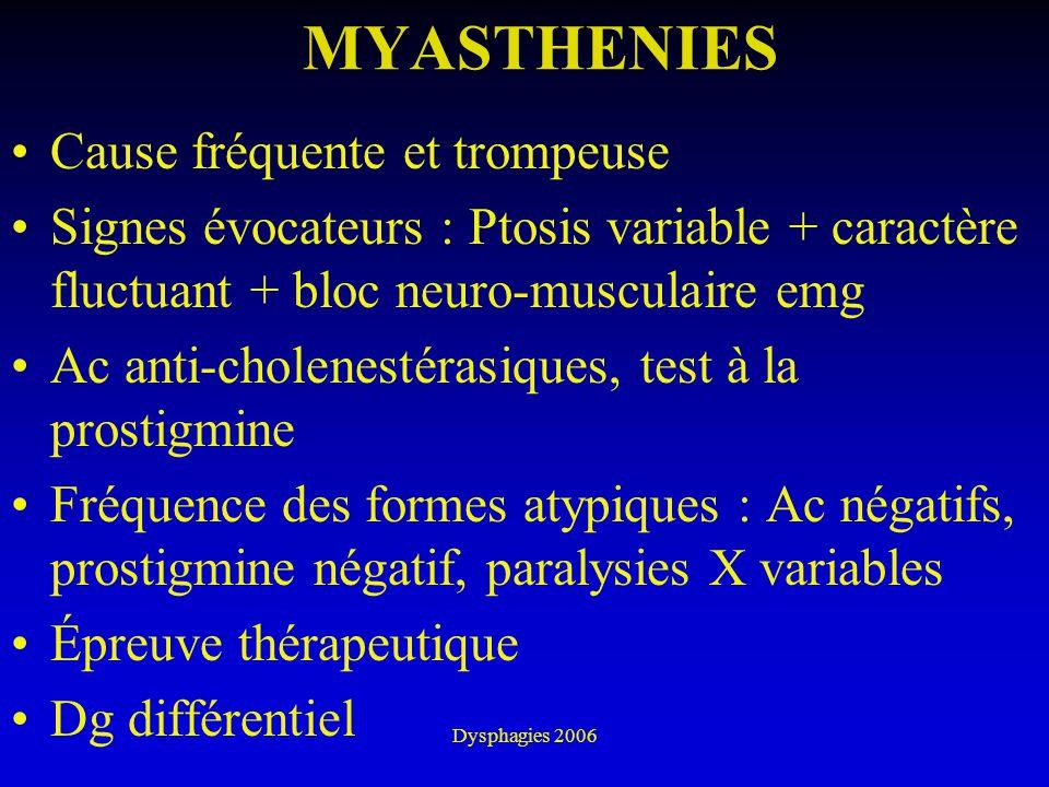 Dysphagies 2006 MYASTHENIES Cause fréquente et trompeuse Signes évocateurs : Ptosis variable + caractère fluctuant + bloc neuro-musculaire emg Ac anti