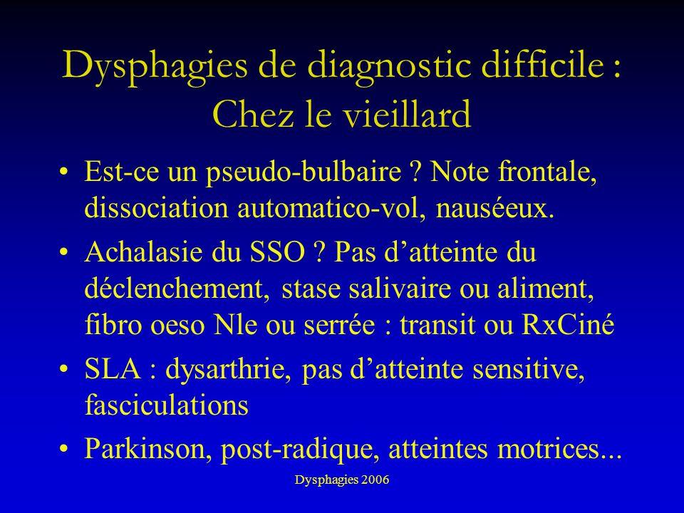 Dysphagies 2006 Dysphagies de diagnostic difficile : Chez le vieillard Est-ce un pseudo-bulbaire ? Note frontale, dissociation automatico-vol, nauséeu