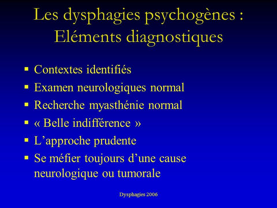 Dysphagies 2006 Les dysphagies psychogènes : Eléments diagnostiques Contextes identifiés Examen neurologiques normal Recherche myasthénie normal « Bel