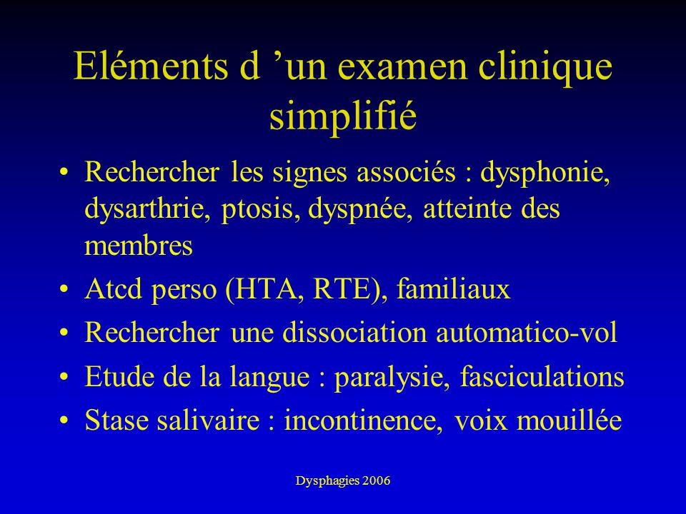 Dysphagies 2006 Eléments d un examen clinique simplifié Rechercher les signes associés : dysphonie, dysarthrie, ptosis, dyspnée, atteinte des membres