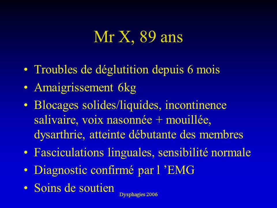 Dysphagies 2006 Mr X, 89 ans Troubles de déglutition depuis 6 mois Amaigrissement 6kg Blocages solides/liquides, incontinence salivaire, voix nasonnée