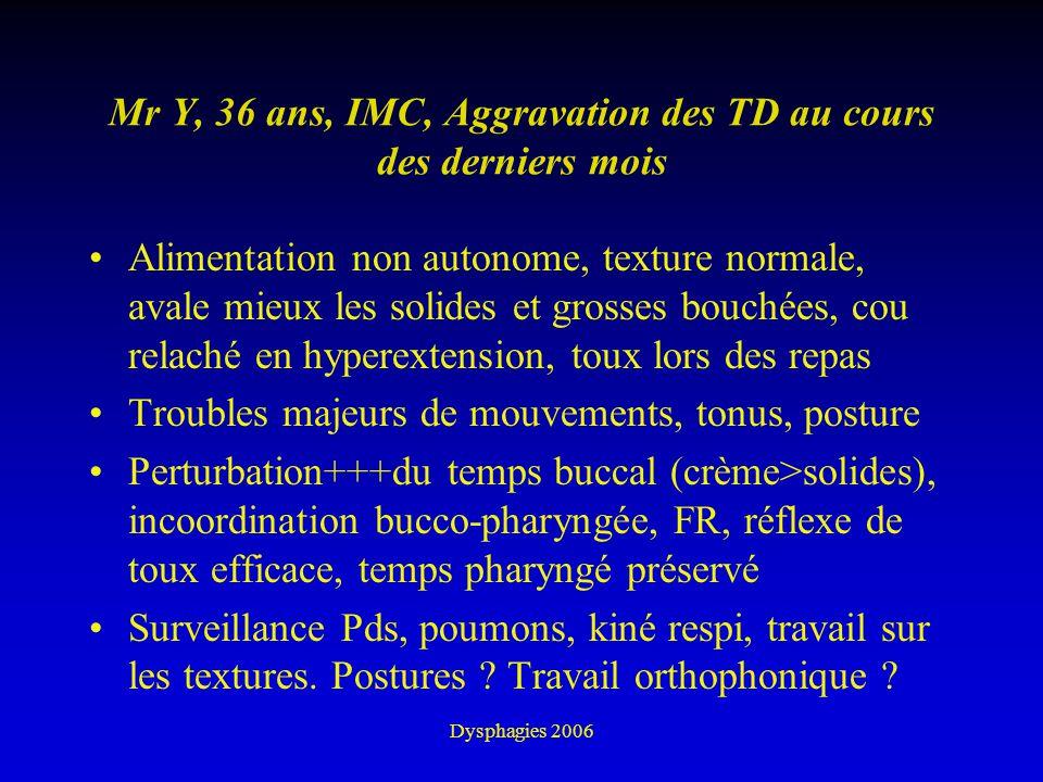 Dysphagies 2006 Mr Y, 36 ans, IMC, Aggravation des TD au cours des derniers mois Alimentation non autonome, texture normale, avale mieux les solides e
