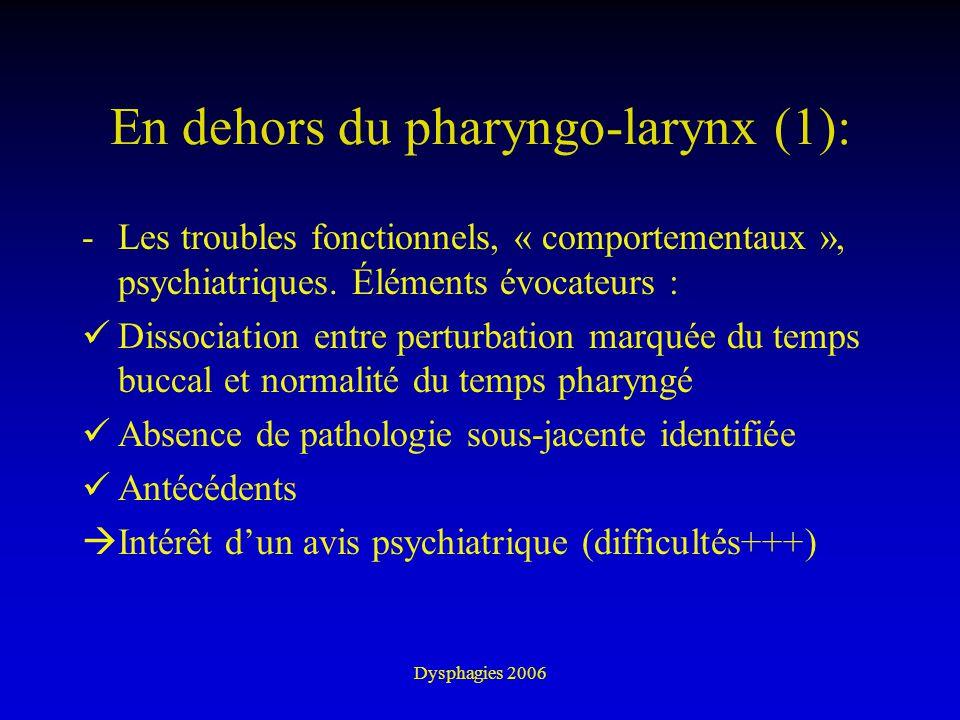 Dysphagies 2006 En dehors du pharyngo-larynx (1): -Les troubles fonctionnels, « comportementaux », psychiatriques. Éléments évocateurs : Dissociation