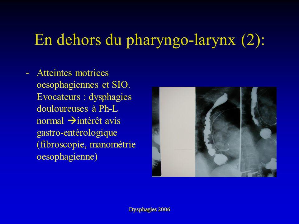 Dysphagies 2006 En dehors du pharyngo-larynx (2): - Atteintes motrices oesophagiennes et SIO. Evocateurs : dysphagies douloureuses à Ph-L normal intér