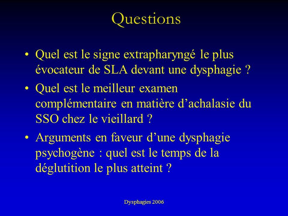 Dysphagies 2006 Questions Quel est le signe extrapharyngé le plus évocateur de SLA devant une dysphagie ? Quel est le meilleur examen complémentaire e