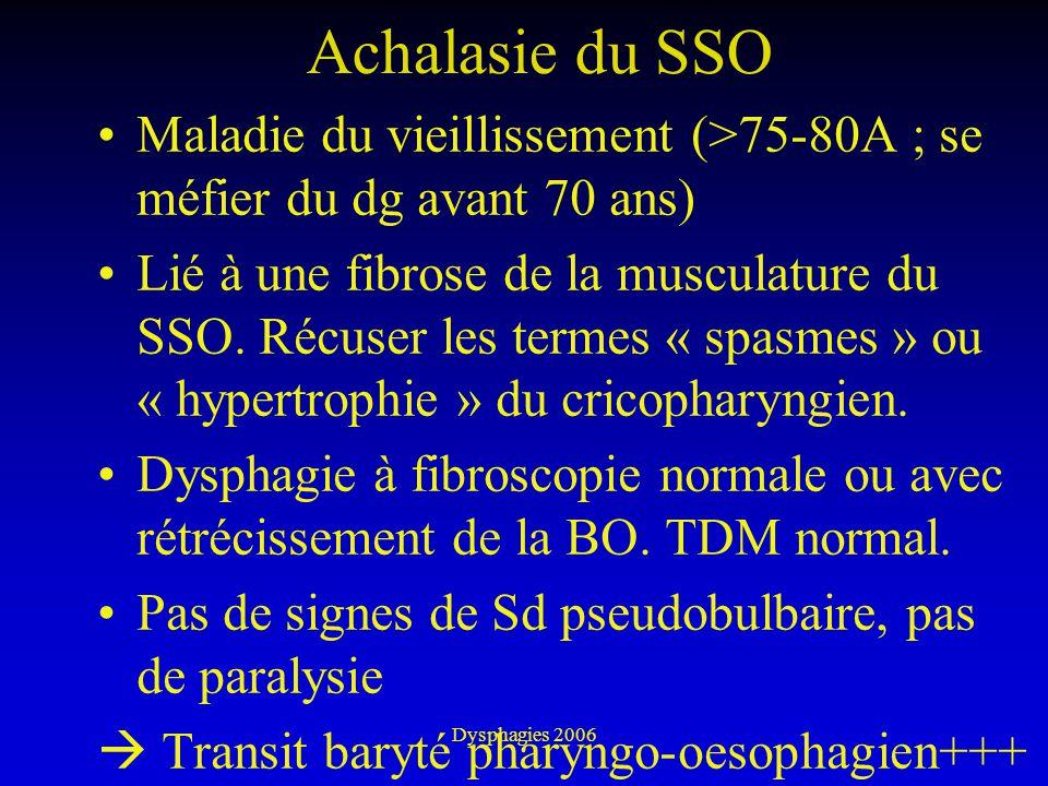 Dysphagies 2006 Achalasie du SSO Maladie du vieillissement (>75-80A ; se méfier du dg avant 70 ans) Lié à une fibrose de la musculature du SSO. Récuse