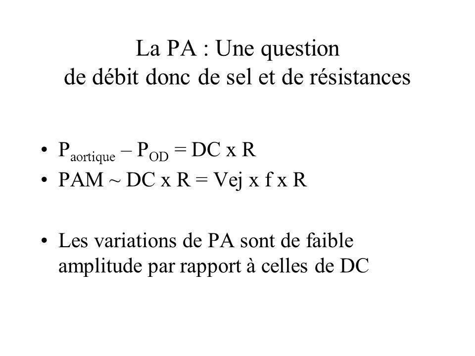 La PA : Une question de débit donc de sel et de résistances P aortique – P OD = DC x R PAM ~ DC x R = Vej x f x R Les variations de PA sont de faible