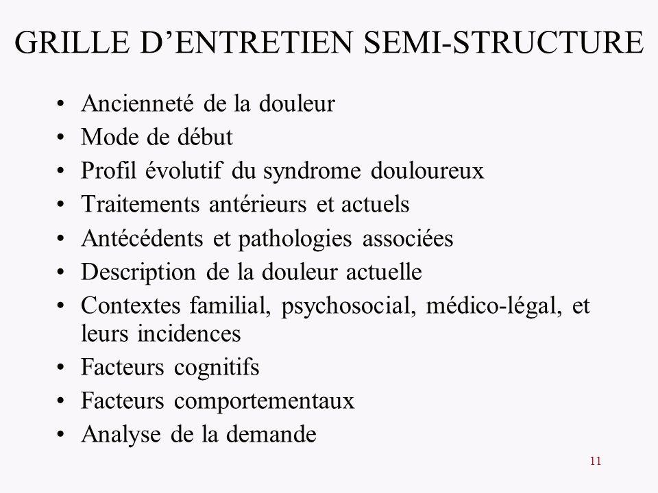 11 GRILLE DENTRETIEN SEMI-STRUCTURE Ancienneté de la douleur Mode de début Profil évolutif du syndrome douloureux Traitements antérieurs et actuels An